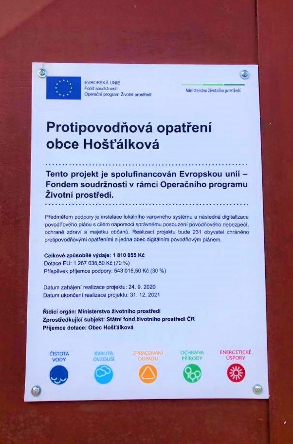 Protipovodňová opatření obce Hošťálková