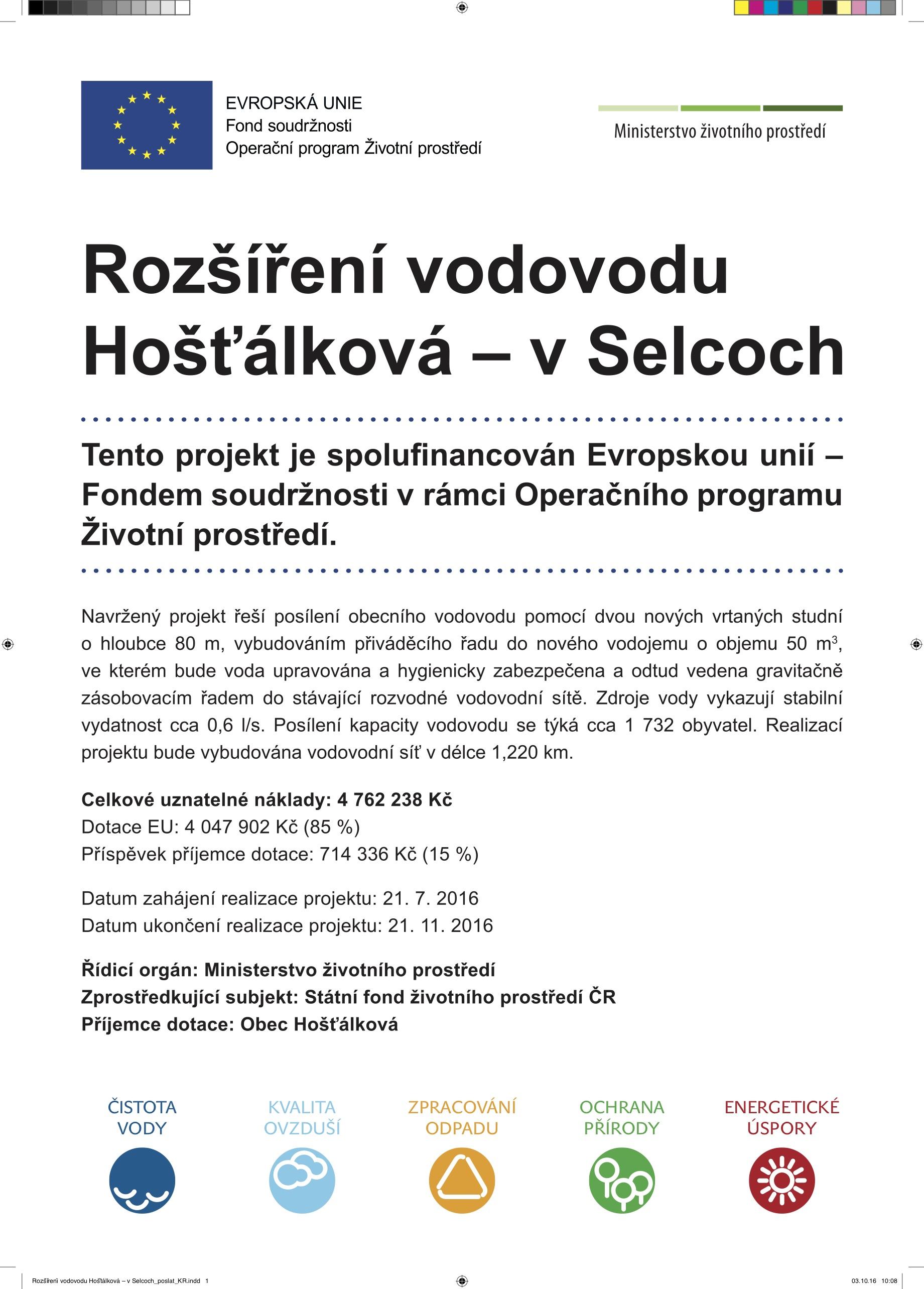Rozšíření vodovodu Hošťálková – v Selcoch