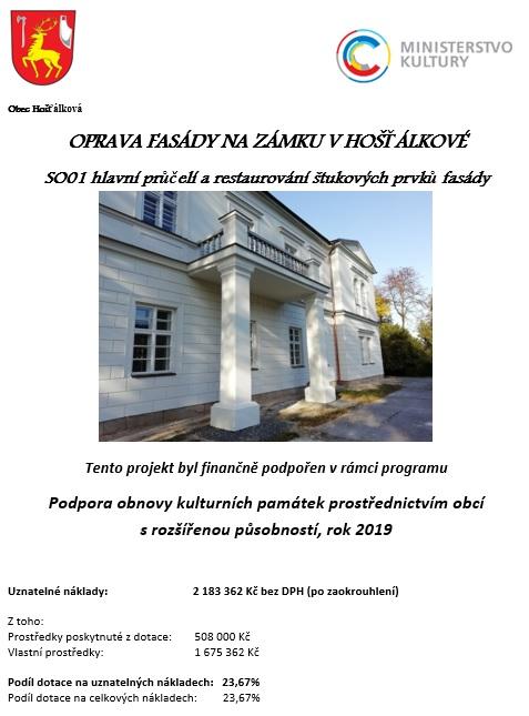 Oprava fasády na zámku v Hošťálkové – hlavní průčelí a restaurování štukových prvků fasády